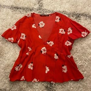 Red Floral Blouse
